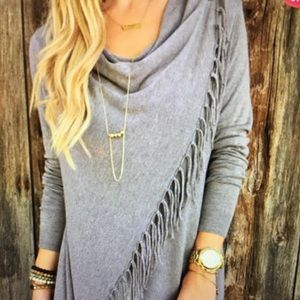 Tops - Asymmetric Gray Wrap Tassel Cardigan